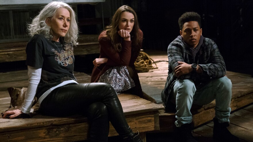(L-R) Helen Mirren as Brigitte, Keira Knightley as Amy and Jacob Latimore as Raffi in <em>Collateral Beauty.</em>