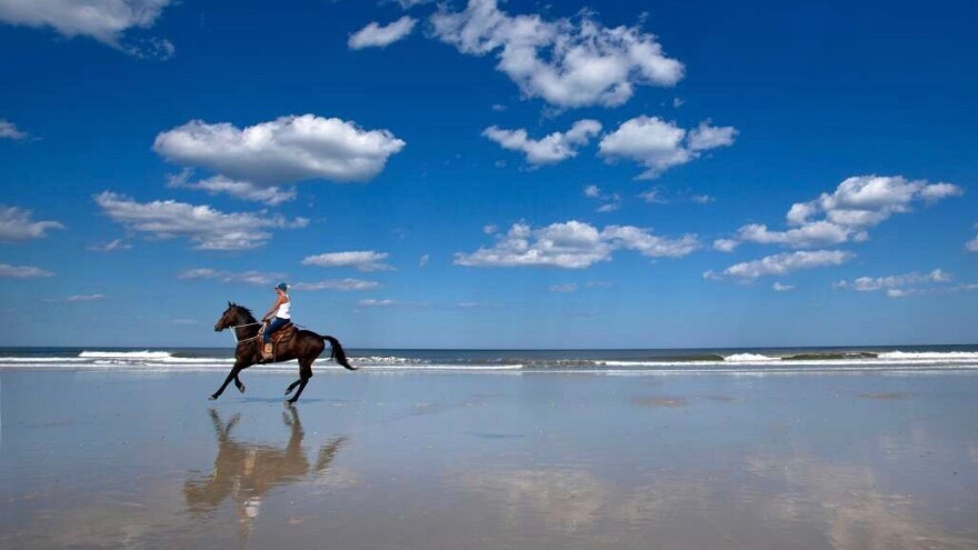 """A woman riding a horse on the beach at Amelia Island, featured in the """"Day Trips in Florida"""" section of VisitFlorida.com."""