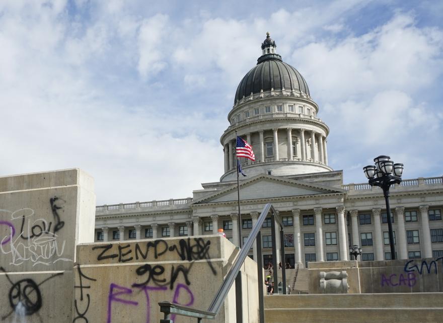 Graffiti on Utah Capitol grounds.