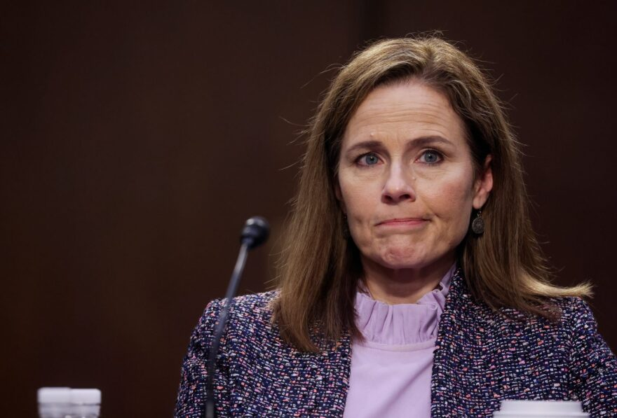 Supreme Court nominee Judge Amy Coney Barrett testifies before the Senate Judiciary Committee on the third day of her confirmation hearings on Capitol Hill in Washington, DC.