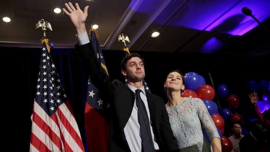 Ossoff, joined by fiancee Alisha Kramer on election night, ran a surprisingly close race in this traditionally conservative district, thanks to anti-Trump sentiment and $30 million spent.