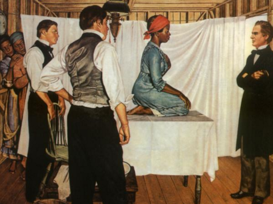 <em>Illustration of Dr. J. Marion Sims with Anarcha by Robert Thom. Anarcha was subjected to 30 experimental surgeries. </em>