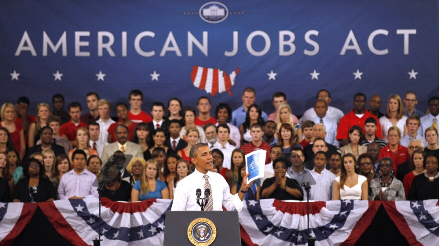 President Obama speaks Wednesday at North Carolina State University in Raleigh about the American Jobs Act.