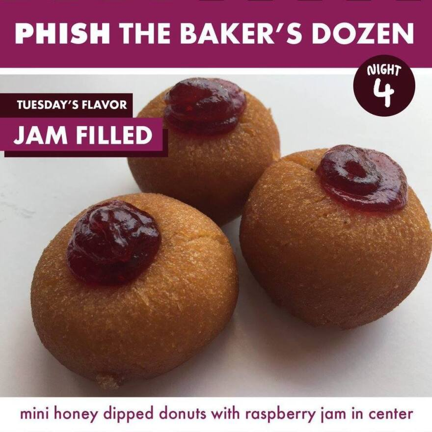 Federal Donuts' Jam Filled Donut for night 4 of Phish The Bakers Dozen.
