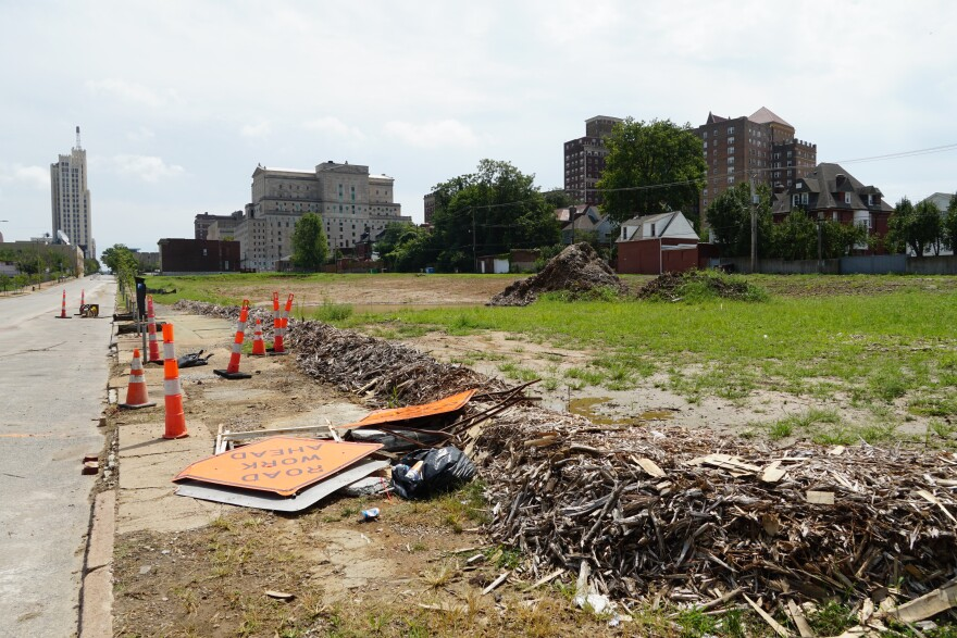 Only one building is currently standing on the 5.2 acre Olive St. site.  [8/26/19]