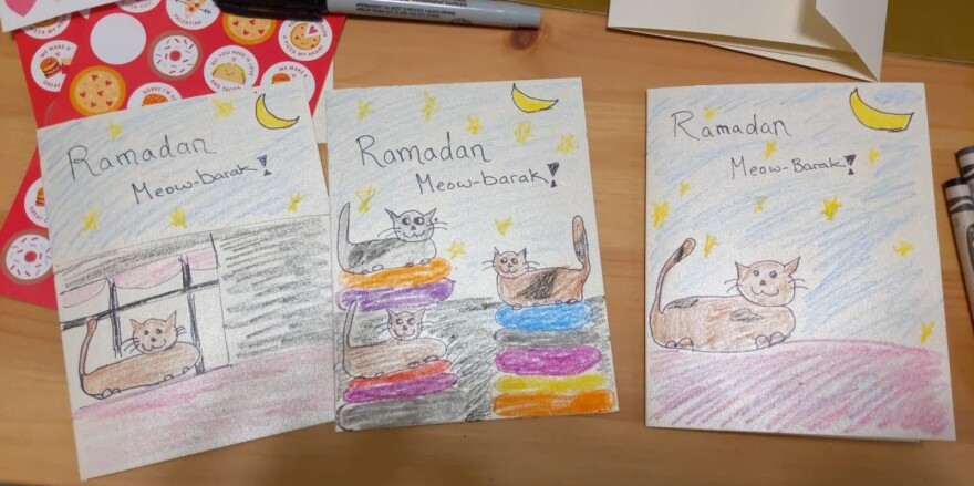 Homemade Ramadan cards Sarah Alfaham made for a card exchange she and her friends organized to replace the planned community potluck.