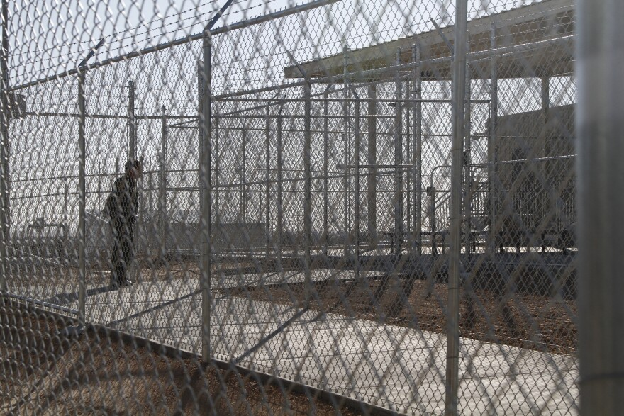 The fences outside an El Paso immigration border detention facility.