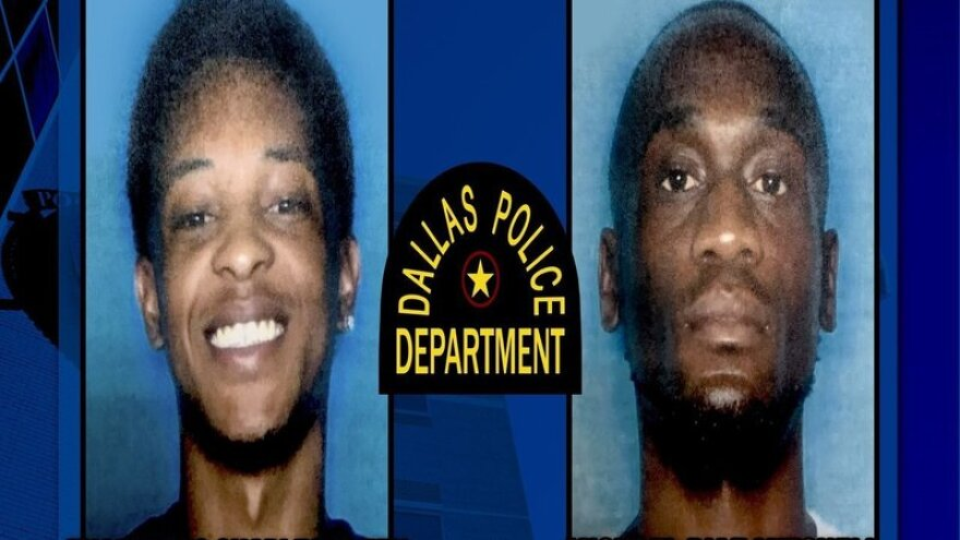 Dallas police are seeking Thaddeous Green (left) and Michael Mitchell in connection with the killing of Joshua Brown — who testified in the recent Amber Guyger trial.
