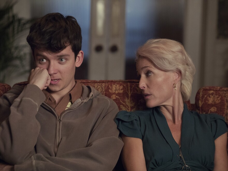 Asa Butterfield and Gillian Anderson play a mother and son on the Netflix series <em>Sex Education.</em>