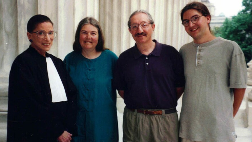 Sharron Cohen (second from left) with her husband David Cohen, and son Nathan Cohen with Supreme Court Justice Ruth Bader Ginsburg on the steps of the Supreme Court building in 1999.