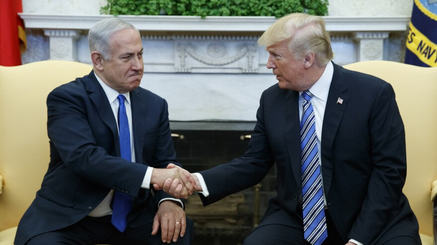 President Trump meets with Israeli Prime Minister Netanyahu in the Oval Office of the White House on Monday.