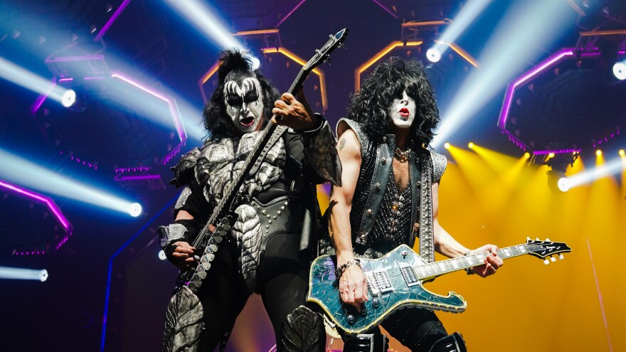 """Gene Simmons and Paul Stanley of KISS perform during the """"End of the World Tour"""" in Jan. 2019."""