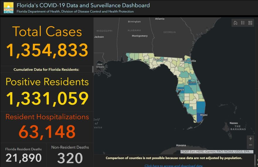 A screen grab of the state's coronavirus dashboard from Jan. 2, 2021.