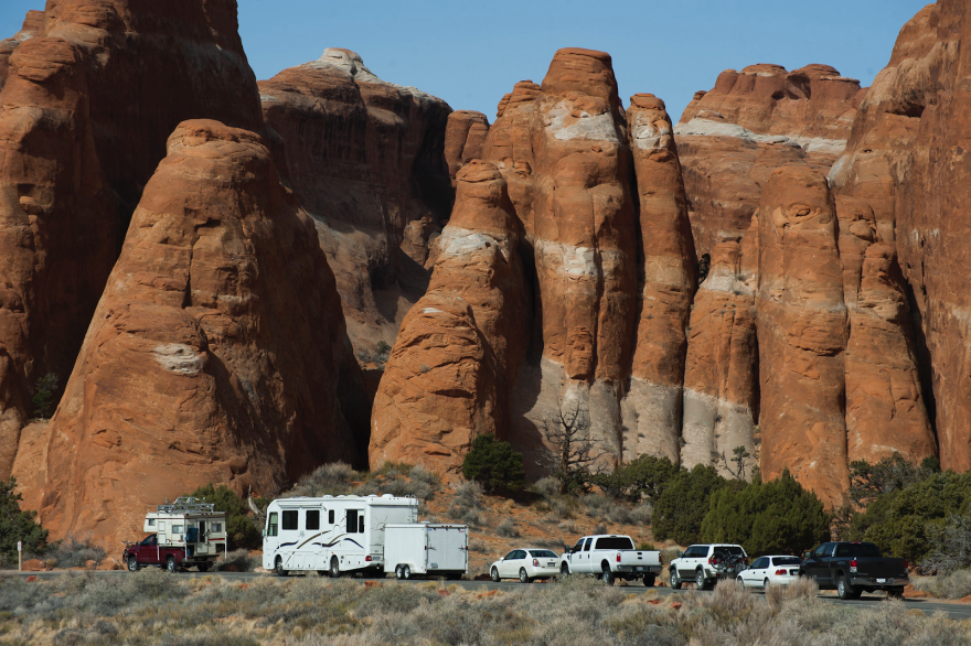 Parking at Devils Garden in Arches National Park. Come November, off-road vehicles will also be allowed on national park roads in Utah.