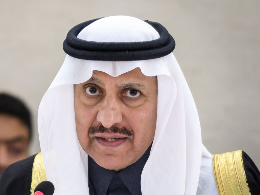 President of the Human Rights Commission of Saudi Arabia, Bandar bin Mohammed Al-Aiban, pictured in November, told the UN Human Rights Council on Thursday the accused killers behind Jamal Khashoggi's death are being brought to justice.