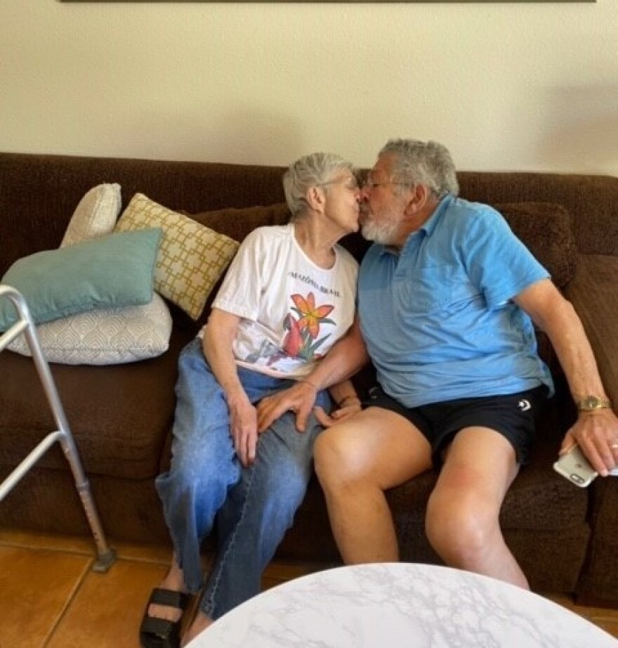 Larry and Anne Sandell of Henderson, Nevada reunited after being quarantined for COVID-19.