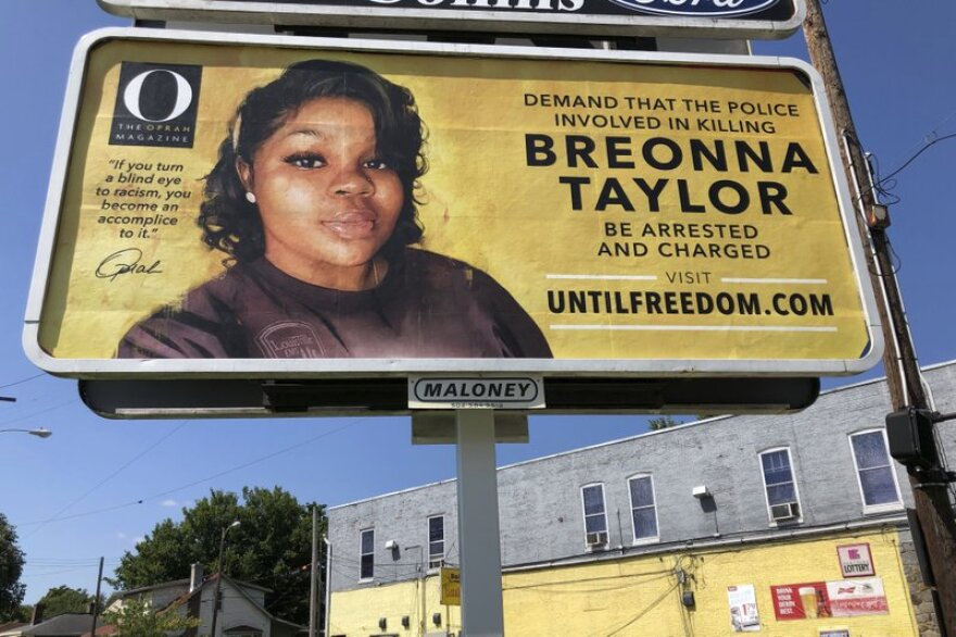 A billboard sponsored by O, The Oprah Magazine, is on display with with a photo of Breonna Taylor in Louisville, KY.