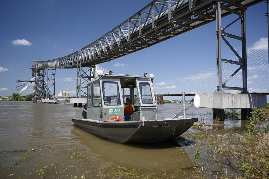Trent Legg, a U.S. Geological Survey hydrological technician, spent much of June 5, 2019 taking flow measurements of the Mississippi River in the St. Louis area.
