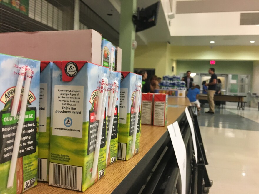 Teachers' unions distributed food to members at Gateway Environmental K-8 Learning Center in Homestead after Irma. Getting back on track in the classroom can be a challenge after an extended disruption.