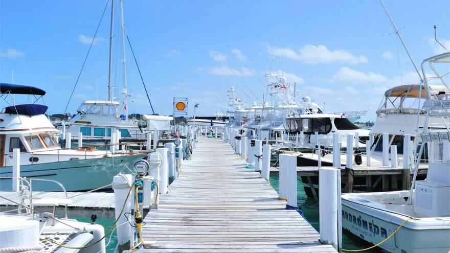 Boats docked on Abaco island in the Bahamas.