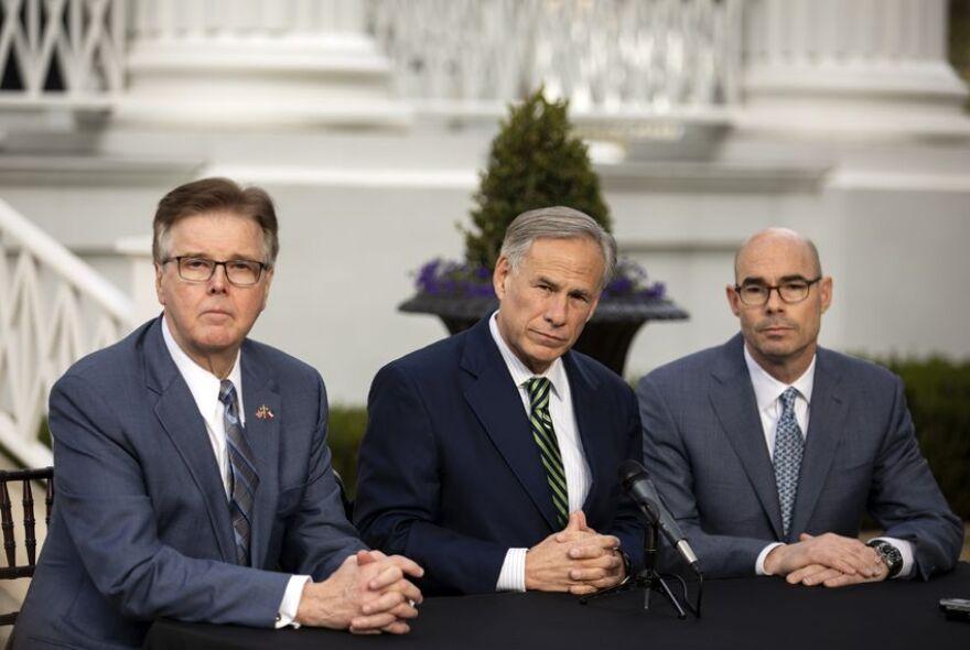 Gov. Greg Abbott, Lt. Gov. Dan Patrick, and House Speaker Dennis Bonnen hold a joint press conference on the lawn of the Governor's Mansion on Jan. 9, 2019.