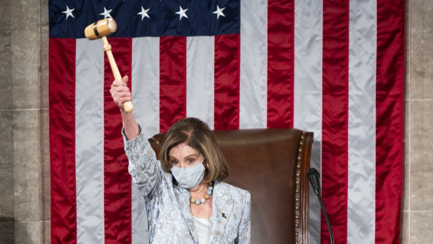 House Speaker Nancy Pelosi, D-Calif., waves the gavel on the opening day of the 117th Congress on Capitol Hill on Jan. 3. She will preside Wednesday over any House debate and possible Republican objections to electoral vote counts.