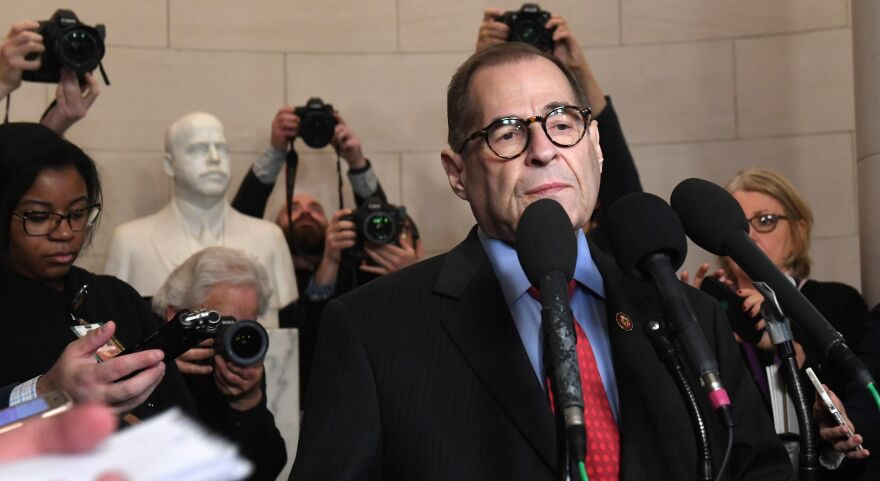 House Judiciary Chairman Jerry Nadler, D-N.Y., speaks to the media on Friday. His committee has released a report on the articles of impeachment against President Trump, ahead of a vote by the full House.