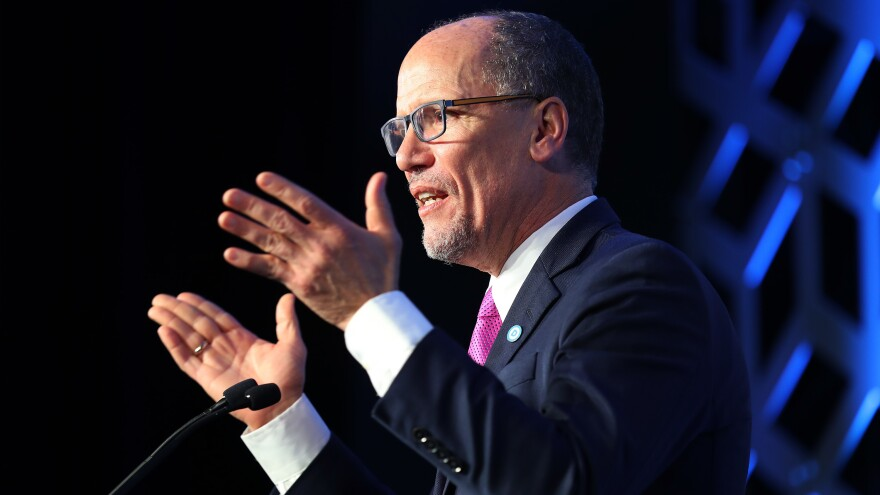 Tom Perez, Democratic National Committee chairman, speaks on Feb. 29 in Charlotte, N.C. Democrats are arguing over the future of the party after losses in the House.