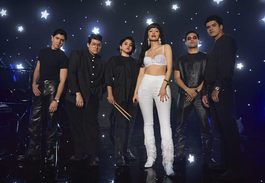"The cast of Netflix's ""Selena: The Series."" (L to R) Carlos Alfredo Jr. as Joe Ojeda; Hunter Reese Peña as Ricky Vela; Noemi Gonzalez as Suzette Quintanilla; Christian Serratos as Selena Quintanilla-Pérez; Gabriel Chavarria as A.B. Quintanilla; and Jesse Posey as Chris Perez. 