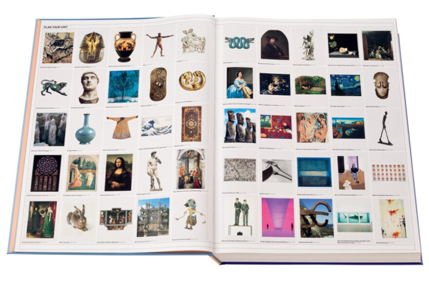 """<em>The Art Museum</em>'s """"Plan Your Visit"""" page acts as a table of contents showing the reader different galleries to peruse, like ancient Rome, pre-Columbian Americas and art since the mid-20th century."""