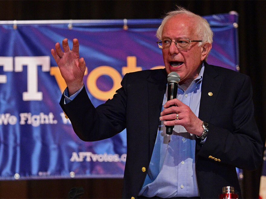 Sen. Bernie Sanders, I-Vt., speaks at an Ohio workers town hall meeting, Sunday, April 14, 2019, in Warren, Ohio. Sanders also spoke in near-by Lordstown.