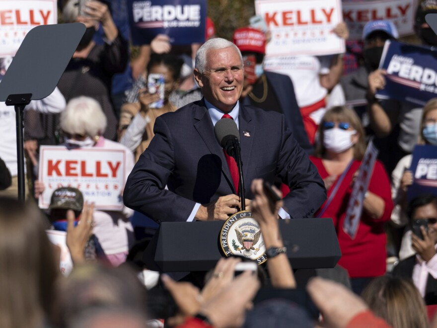 Vice President Pence speaks in Canton, Ga. at a rally for the Republican Senate candidates on Nov. 20.