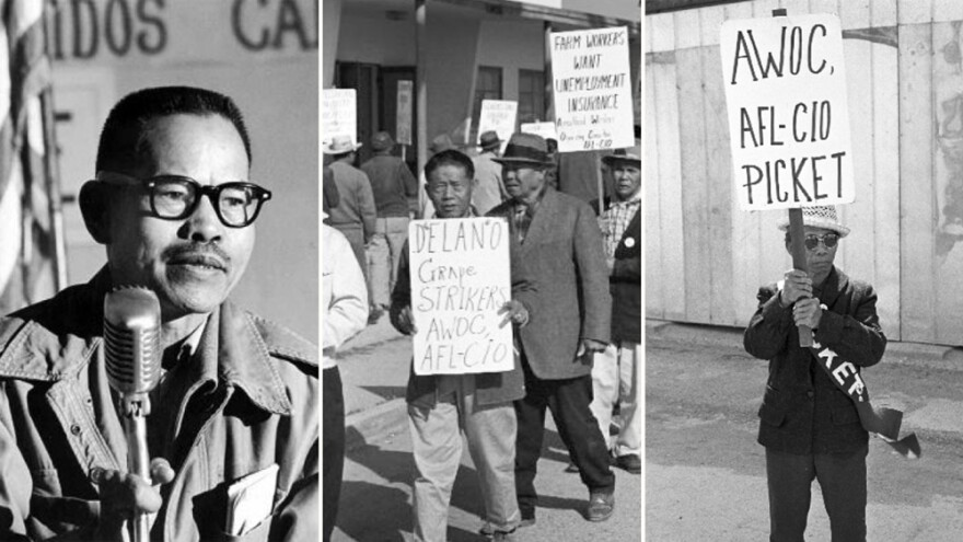 Filipino farmworkers, including Larry Itliong (left), were the first to walk out of vineyards, prompting the Delano Grape Strike. They would join forces with Mexican laborers led by Cesar Chavez to form the United Farm Workers.