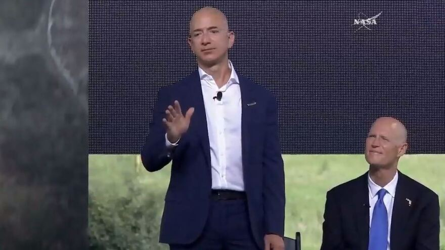 "Jeff Bezos says the launch pads at Cape Canaveral have been dormant for ""too long — we can't wait to fix that."""