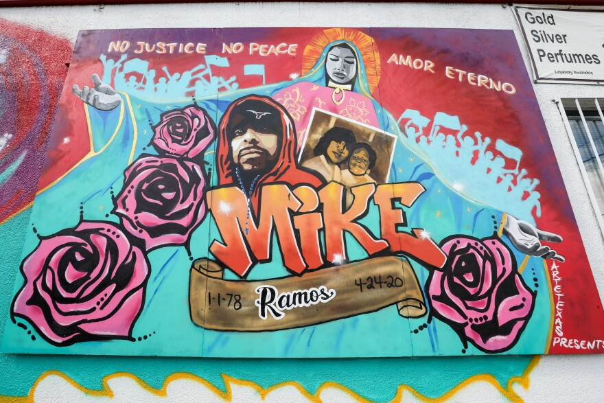 A mural on La Mexicana in South Austin commemorates Mike Ramos, who was shot and killed by an Austin police officer in April.
