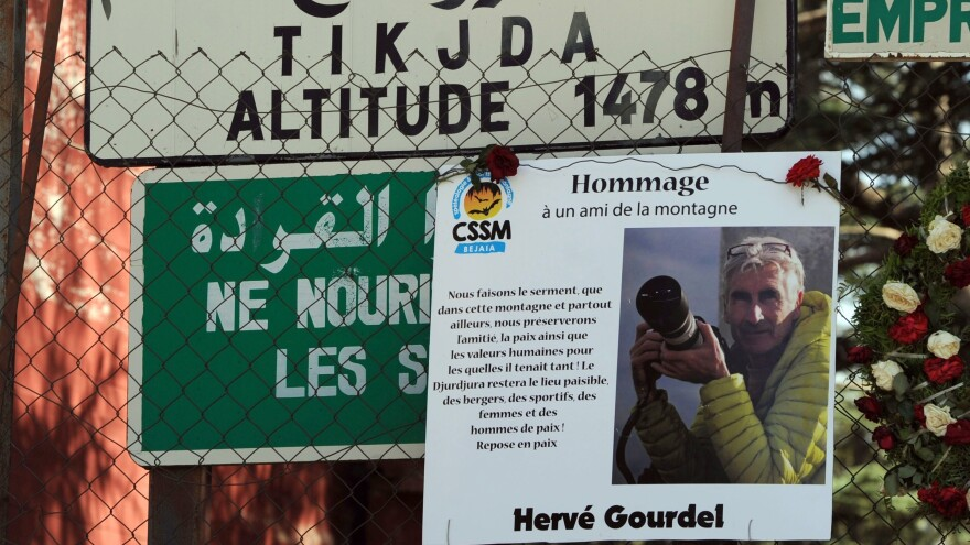 A picture of French tourist and mountain guide Herve Gourdel, 55, who was killed after being kidnapped on Sept. 21 while hiking in Algeria's Djurdjura National Park. The leader of the group that killed Gourdel has been killed in a military attack.