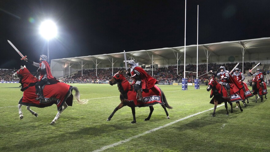 Pictured here in 2018, the Crusader horsemen ride around the arena before the start of a Super Rugby semifinal match. The Crusaders announced Wednesday that the team will be considering a change to its name and branding following the Christchurch attacks on March 15.