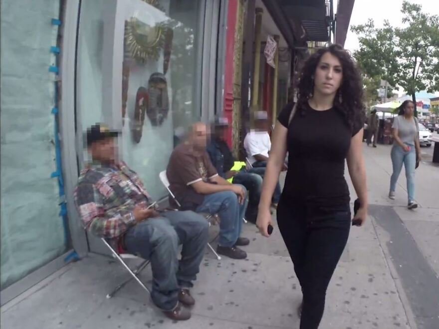 """""""10 Hours of Walking in NYC as a Woman"""" shows the harassment actress Shoshana B. Roberts faces on the streets of New York. After the video went viral, Roberts began to receive violent threats."""
