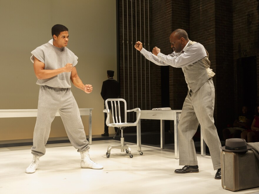 Ray Fisher and K. Todd Freeman play boxer Muhammad Ali and film actor Stepin Fetchit in <em>Fetch Clay, Make Man.</em>