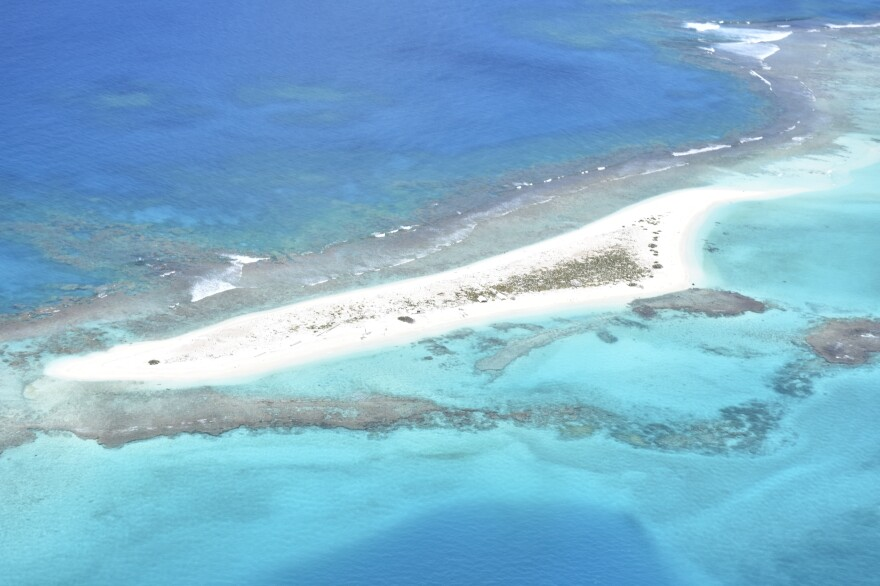 A view of East Island before Hurricane Walaka washed over the 11-acre island.