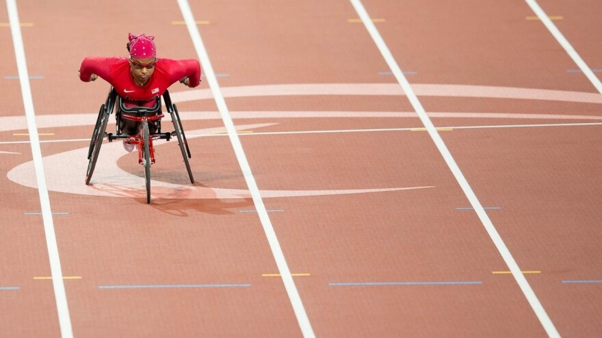 Paralympic wheelchair sprinter Anjali Forber-Pratt says she was inspired as a child by the wheelchair racers whizzing by during the Boston Marathon.