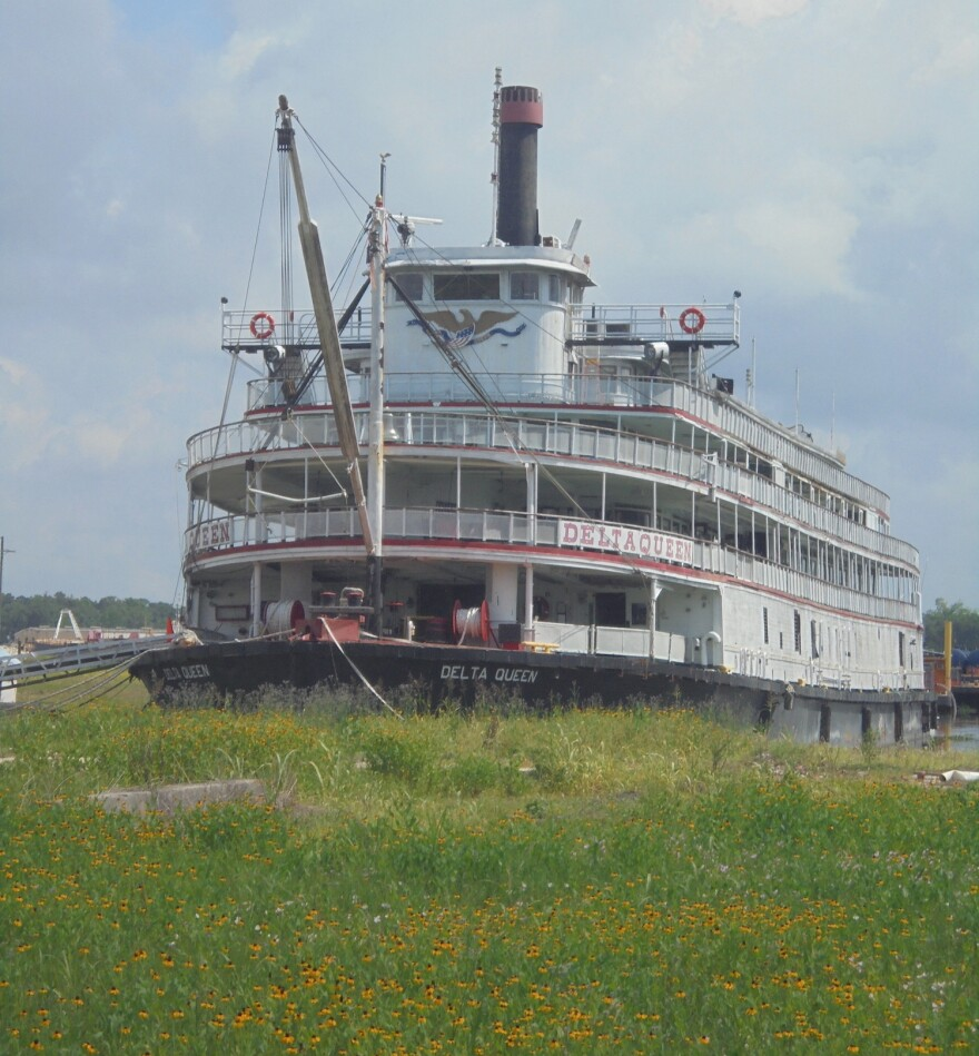 The Delta Queen is currently docked in Houma, Louisiana.