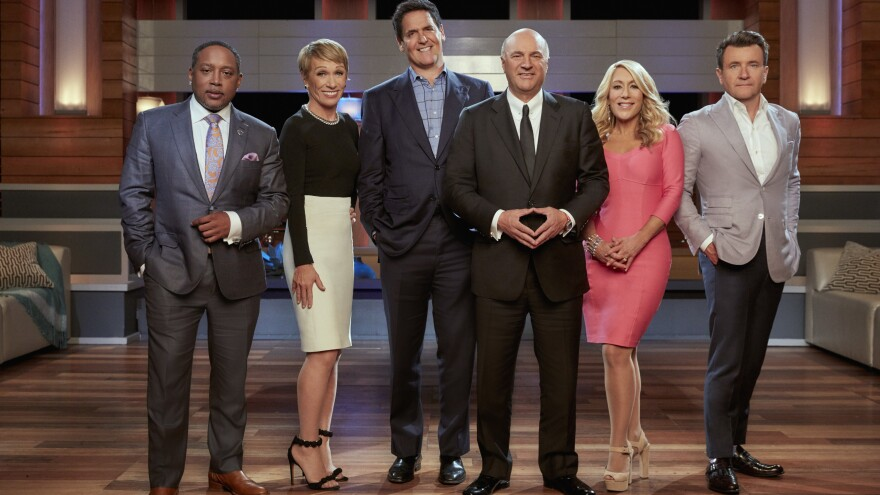 "Daymond John, Barbara Corcoran, Mark Cuban, Kevin O'Leary, Lori Greiner and Robert Herjavec are the ""Sharks"" on ABC's <em>Shark Tank</em>."