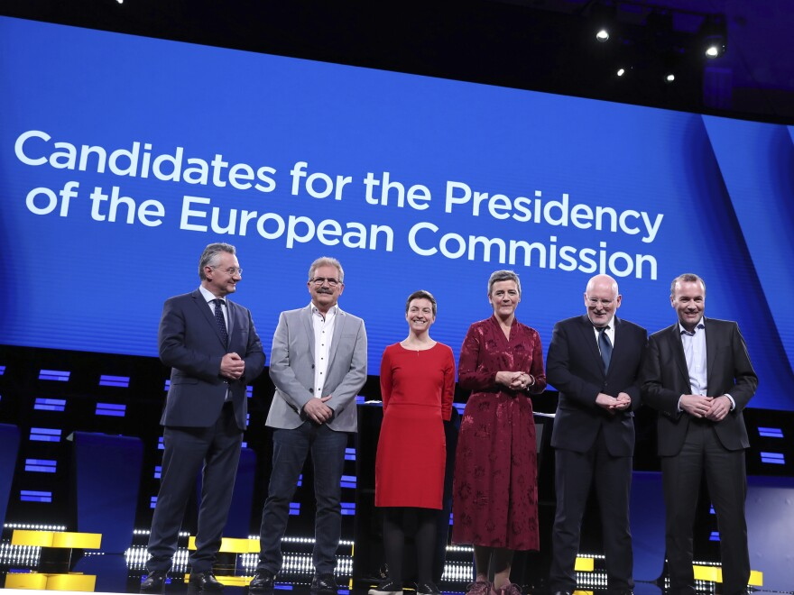 From left, Czech Republic's Jan Zahradil, Spain's Nico Cue, Germany's Ska Keller, Denmark's Margrethe Vestager, Netherlands' Frans Timmermans and Germany's Manfred Weber appear for a debate among candidates for presidency of the European Commission at the European Parliament in Brussels on March 15.
