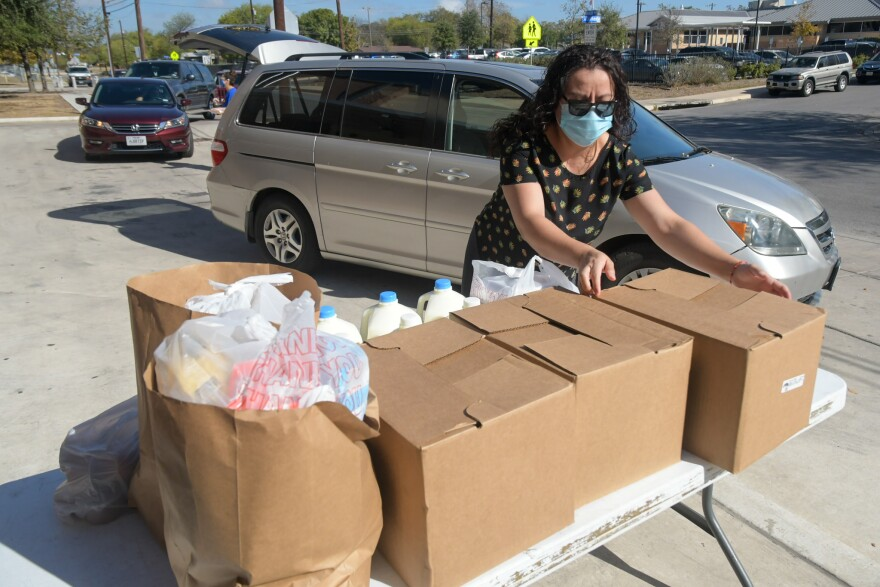 Food is given away at Edison High School