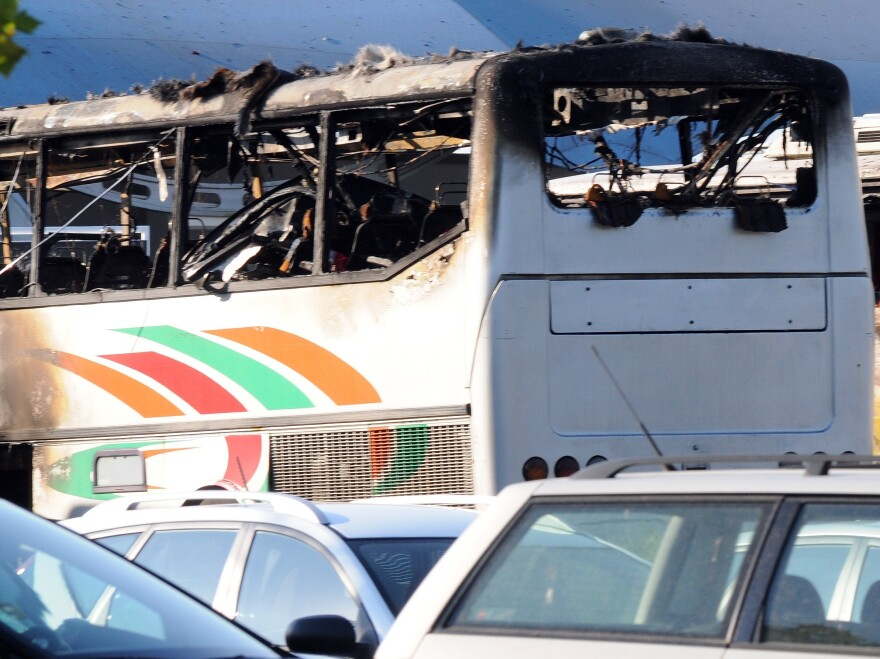 One bus was largely destroyed and others nearby were damaged by today's explosion in Bulgaria.
