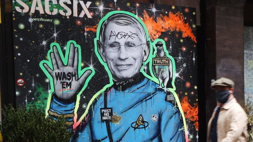 "Dr. Anthony Fauci, seen here depicted in a mural in New York City, is ""a proud son of Brooklyn"" who is helping the country get through the COVID-19 pandemic, Brooklyn Borough President Eric Adams said."