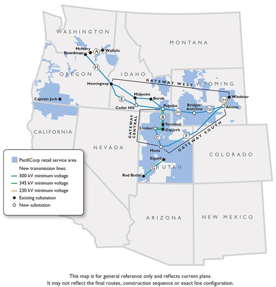 The rough map of Pacificorp's transmission expansion throughout the Mountain West