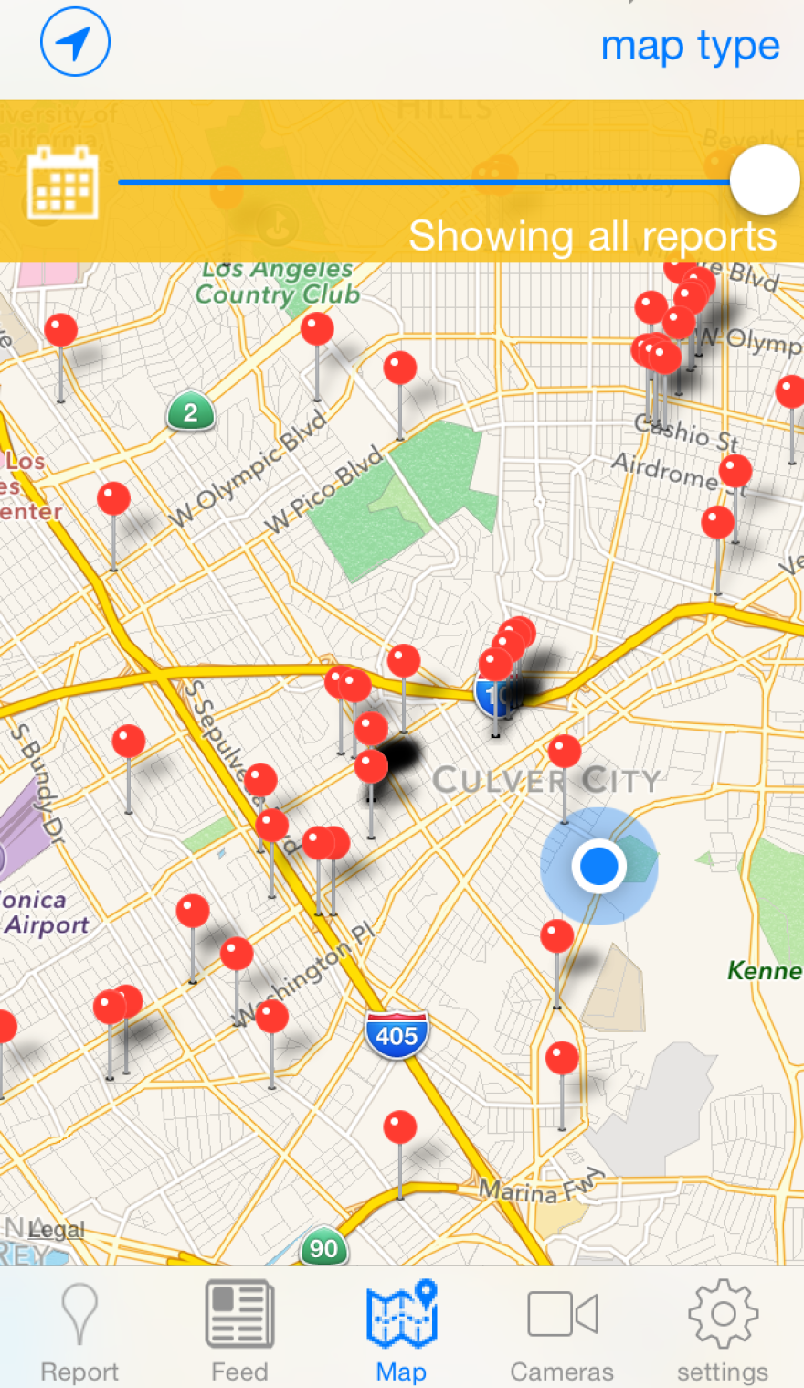 A screen grab from the app VizSafe, where users can report things like fallen branches, potholes, and even water wasters to a geotagged map.