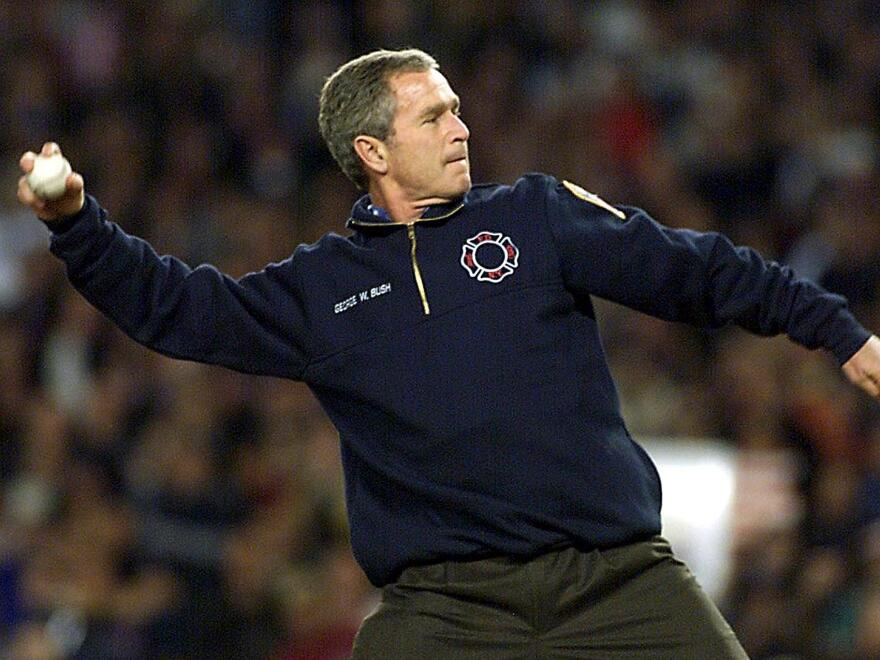 President George W. Bush threw out the ceremonial first pitch of Game 3 of the World Series in New York's Yankee Stadium in October 2001.